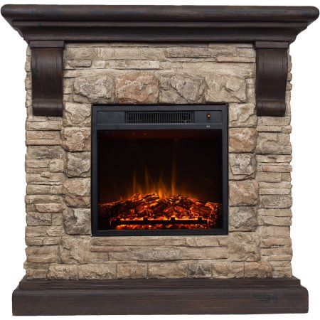 40 Inch Faux Stone Electric Fireplace, Small Faux Stone Electric Fireplace