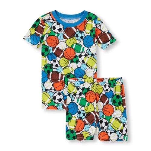 318a61c60 Baby Boys Boys Short Sleeve Sports Balls Print Tee And Short Pajama ...