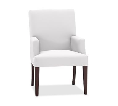 PB Comfort Dining Square Arm Upholstered ArmChair, Twill White