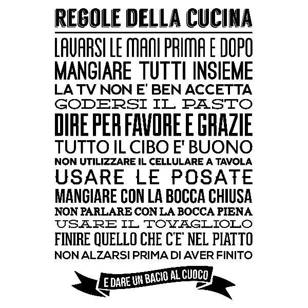 Adesivi murali regole de la cucina italiano pinterest for I cucina niente regole