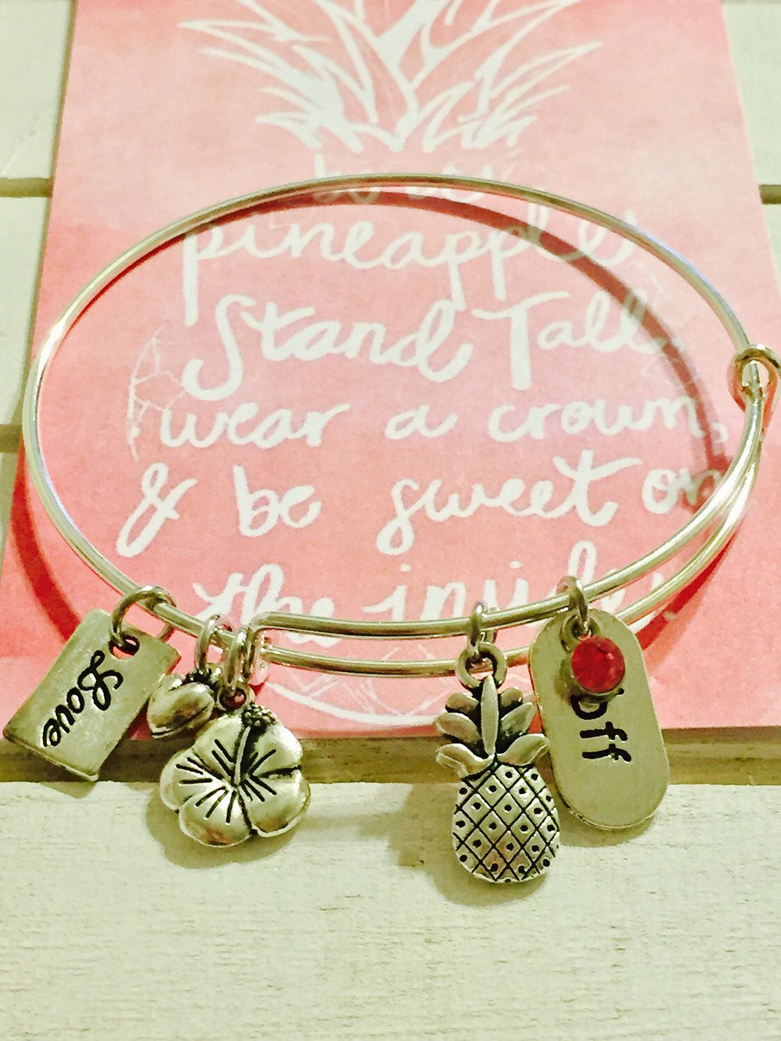 A personal favorite from my Etsy shop https://www.etsy.com/listing/494984258/pineapple-bangle-bracelet-adult-size