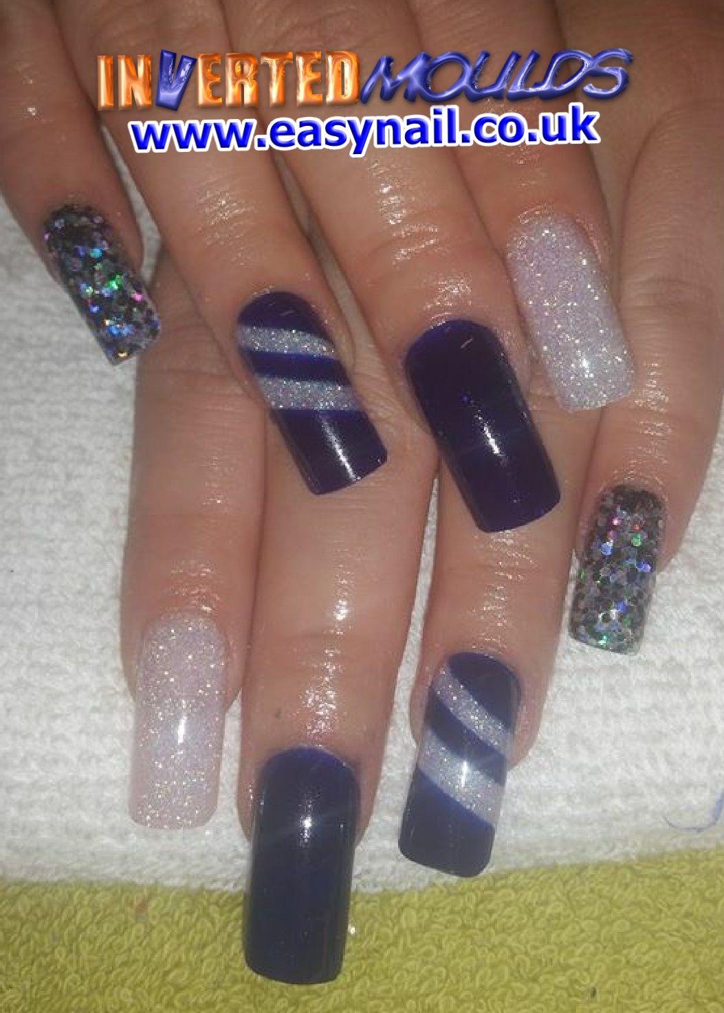 Blue #Iridescent & #Silver #Glitter #Invertedmoulds #Acrylic #Nails ...