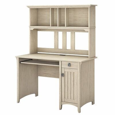 Three Posts Salina Desk with Hutch Color: Antique White