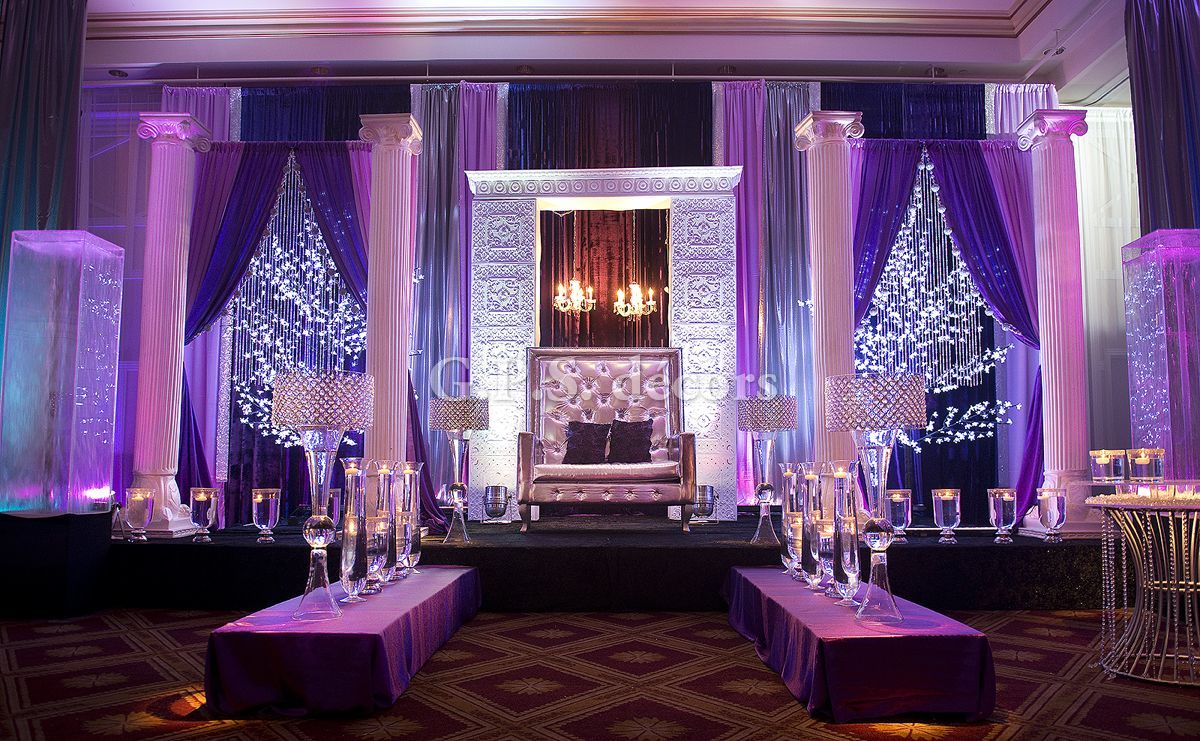 Image result for purple wedding decor ideas for indian weddings | Greek Pillars | Hanging Fairylights | Function Mania | #Trending: How to use hues of Ultraviolet for a chic wedding decor!