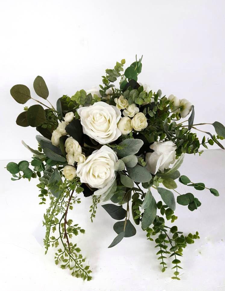 White Bridal Bouquet, Greenery Bride Bouquet, Silk Flower Bridal Bouquet, White Rose Bouquet, Boho Bridal Bouquet,Spring Cascading Bouquet