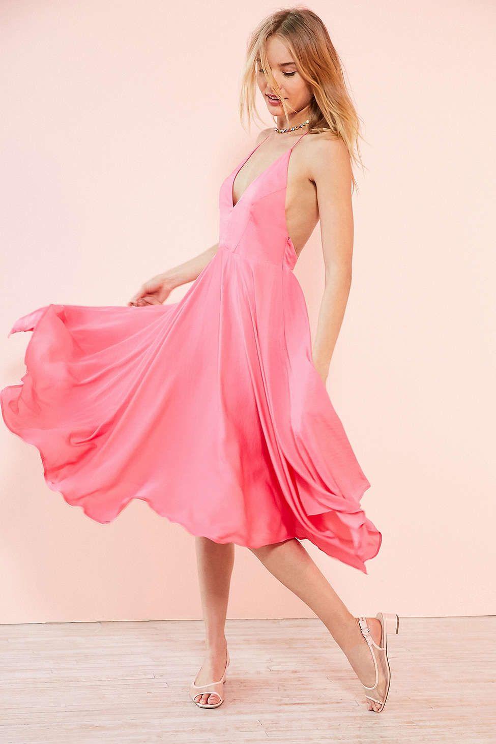 Kimchi Blue Vida Satin Handkerchief Midi Dress - Urban Outfitters ...
