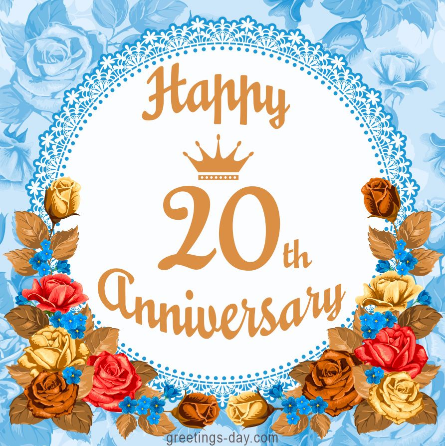 Happy 20th Anniversary Free Greetings And Wishes Happy 20th Anniversary 20th Wedding Anniversary Gifts Marriage Anniversary Cards