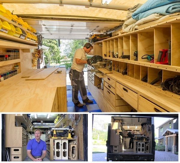 Ron paulk has created a mobile woodshop inside of a 1 000 for Rv workshop