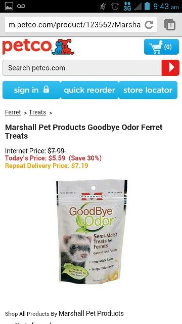Marshall Pet products Goodbye oder ferret treats Pets