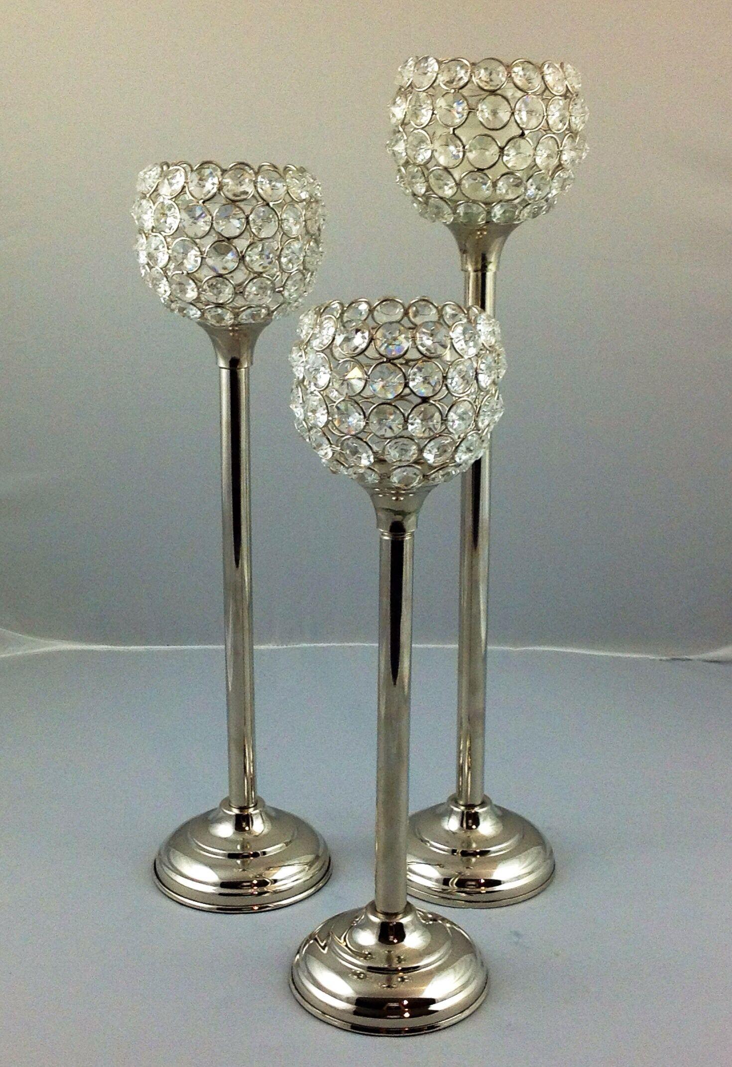 Crystal bead votive holder set crystal candle holder