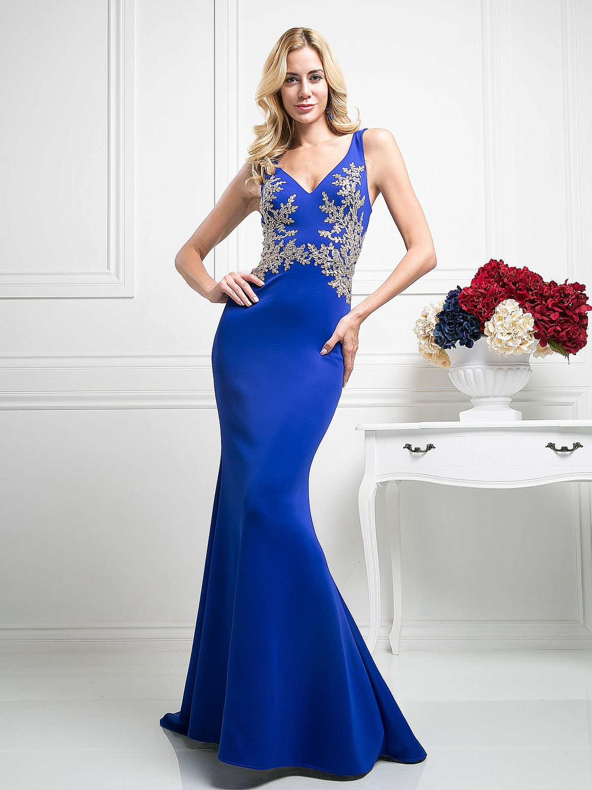 Sleeveless V-Neck Trumpet Evening Gown | Cinderella Divine