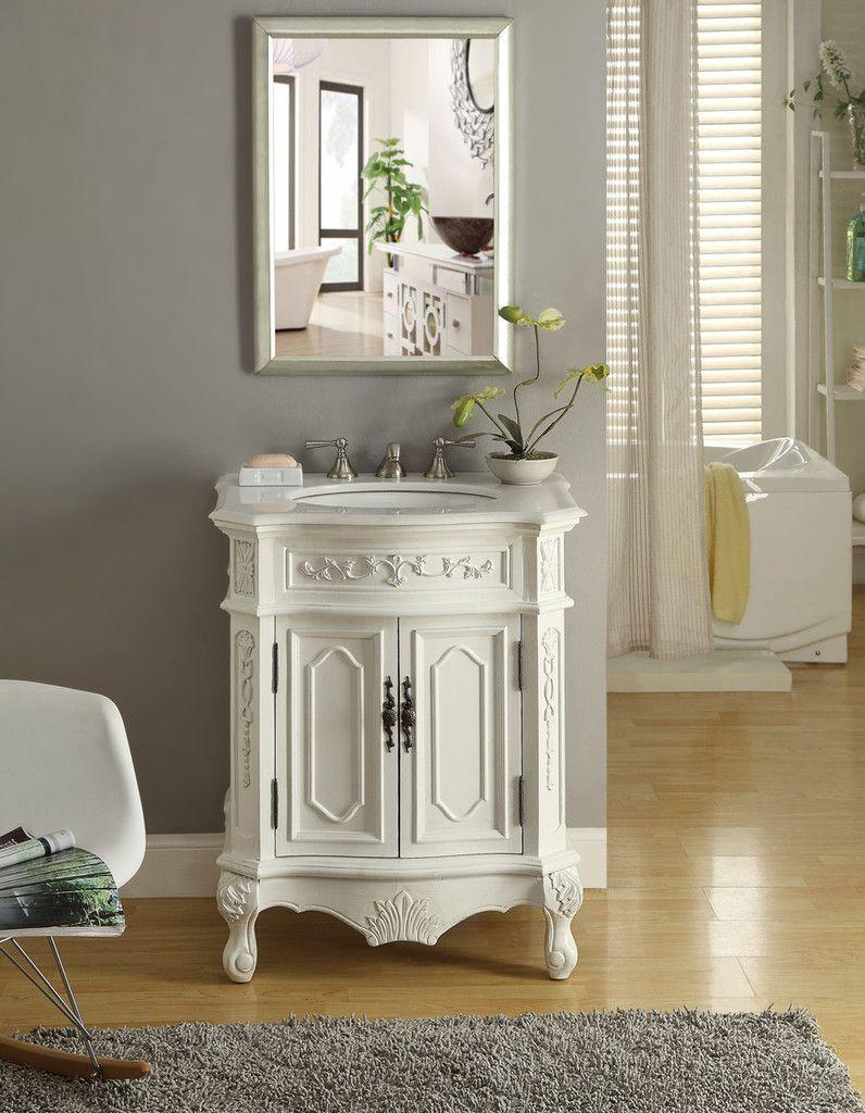 27 inch bathroom vanity. Adelina 27 Inch Antique Bathroom Vanity White Wood Finish