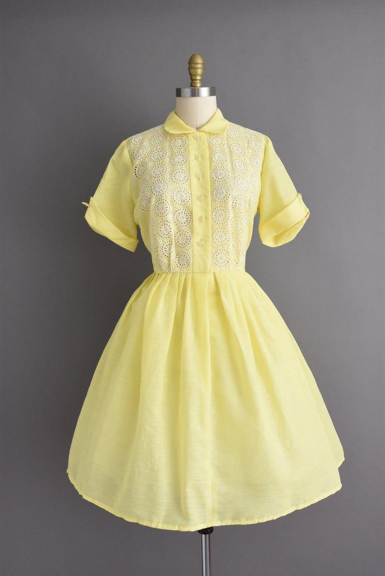 Vintage 1950s Adorable Lemon Drop Yellow Cotton Full Skirt Shirt Dress Large 50s Dress Yellow Vintage Dress Dresses Vintage 1950s Dresses [ 1188 x 794 Pixel ]