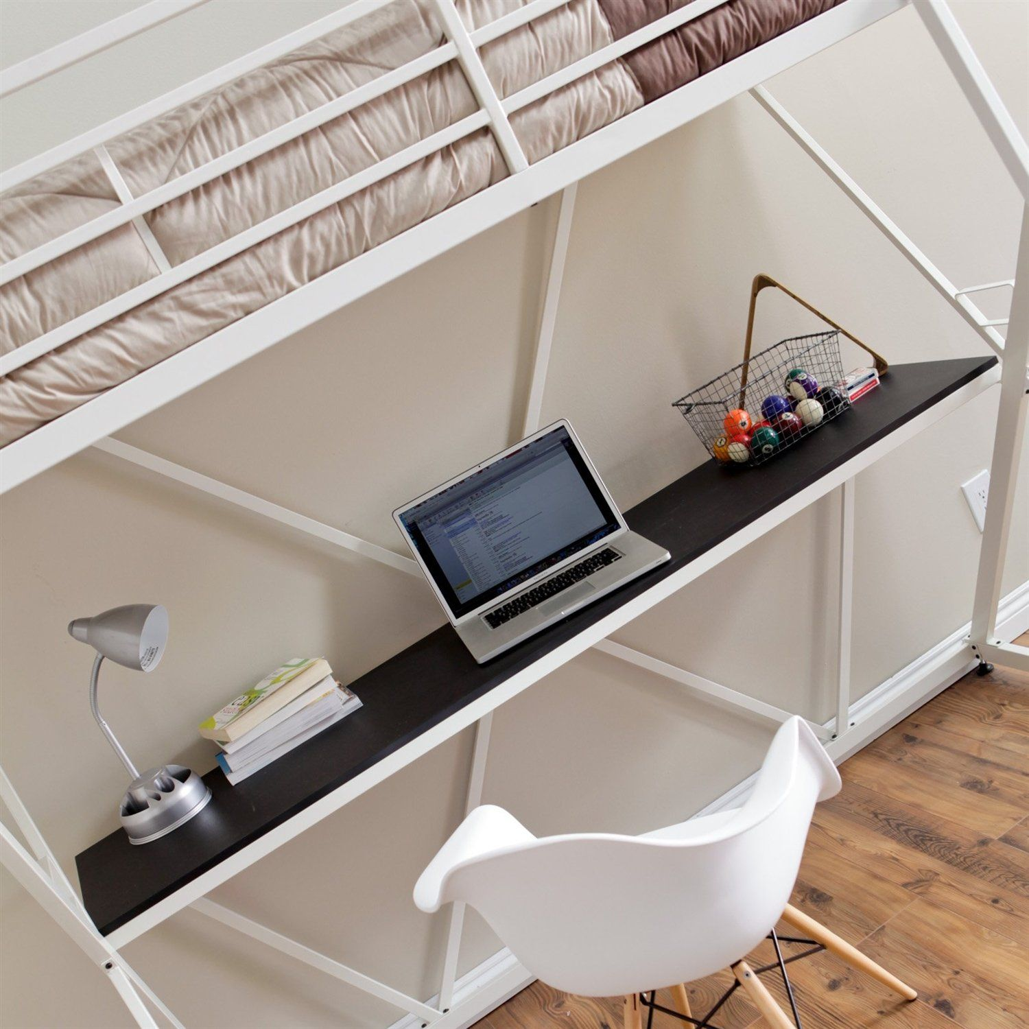 This Modern Twin size Bunk Bed Loft with Desk in White