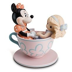 Precious Moments Disney Girl and Minnie Mouse in Tea Cup Figurine.