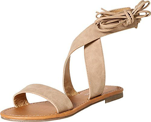 1b9180909a9 City Classified by Soda Womens Zinty Lace Up Gladiator Flat Sandal 8 BM US  Camel PU ** This is an Amazon Affiliate link. You can find more details by  ...