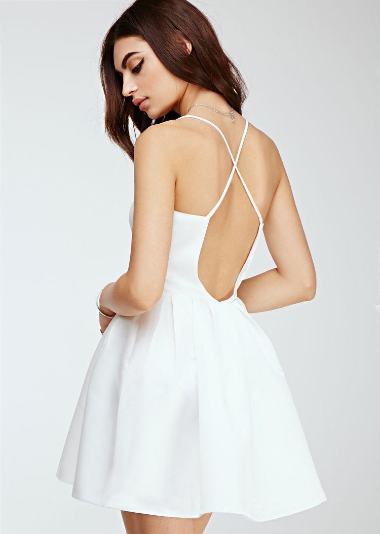 Shop white spaghetti strap cross back flare dress online sheinside