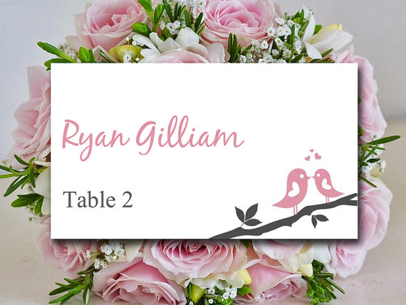 Diy Wedding Place Card Template Love Bird Branch Charcoal Rose Petal Cards W