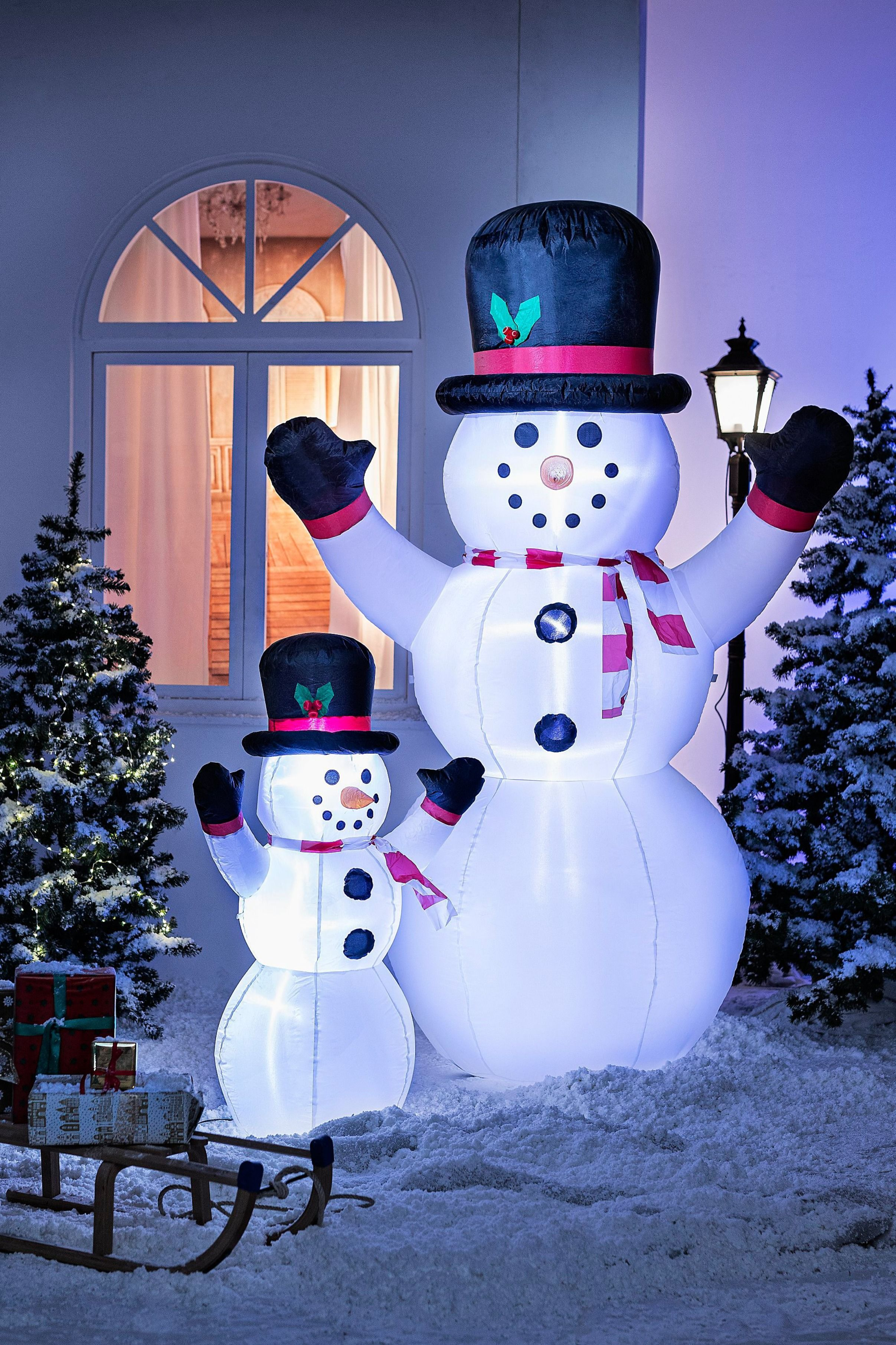 Schneemann weiß Weihnachten Beleuchtet LED Weihnachts Dekoration warmweiß Deko