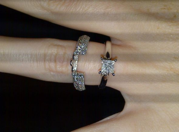 Hello Las I Am Considering A Simple Princess Cut Solitaire For An E Ring And Sparkly Wrap Or Enhancer