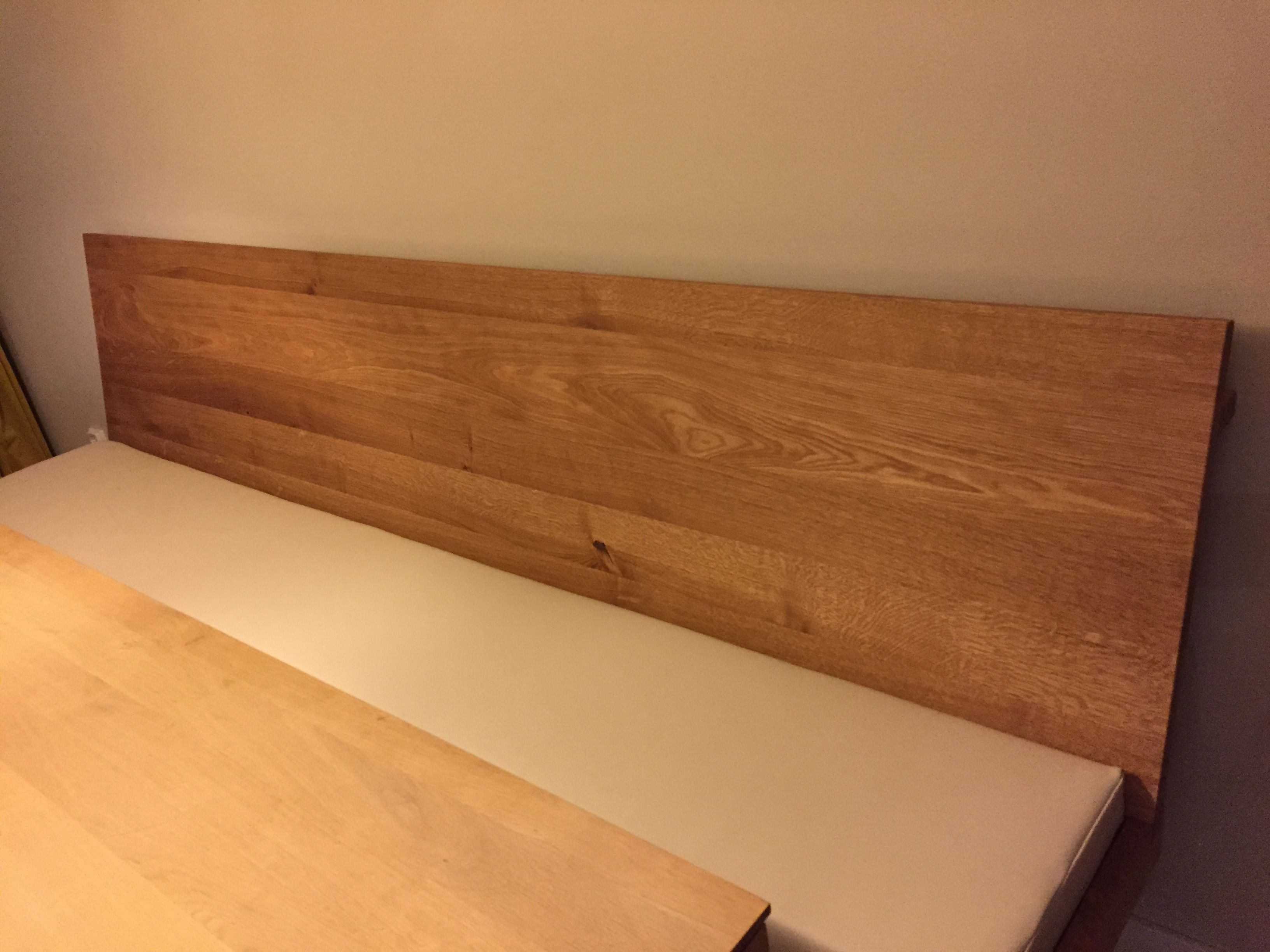 Zwevende eiken houten eetbank cm met stalen onderstellen en