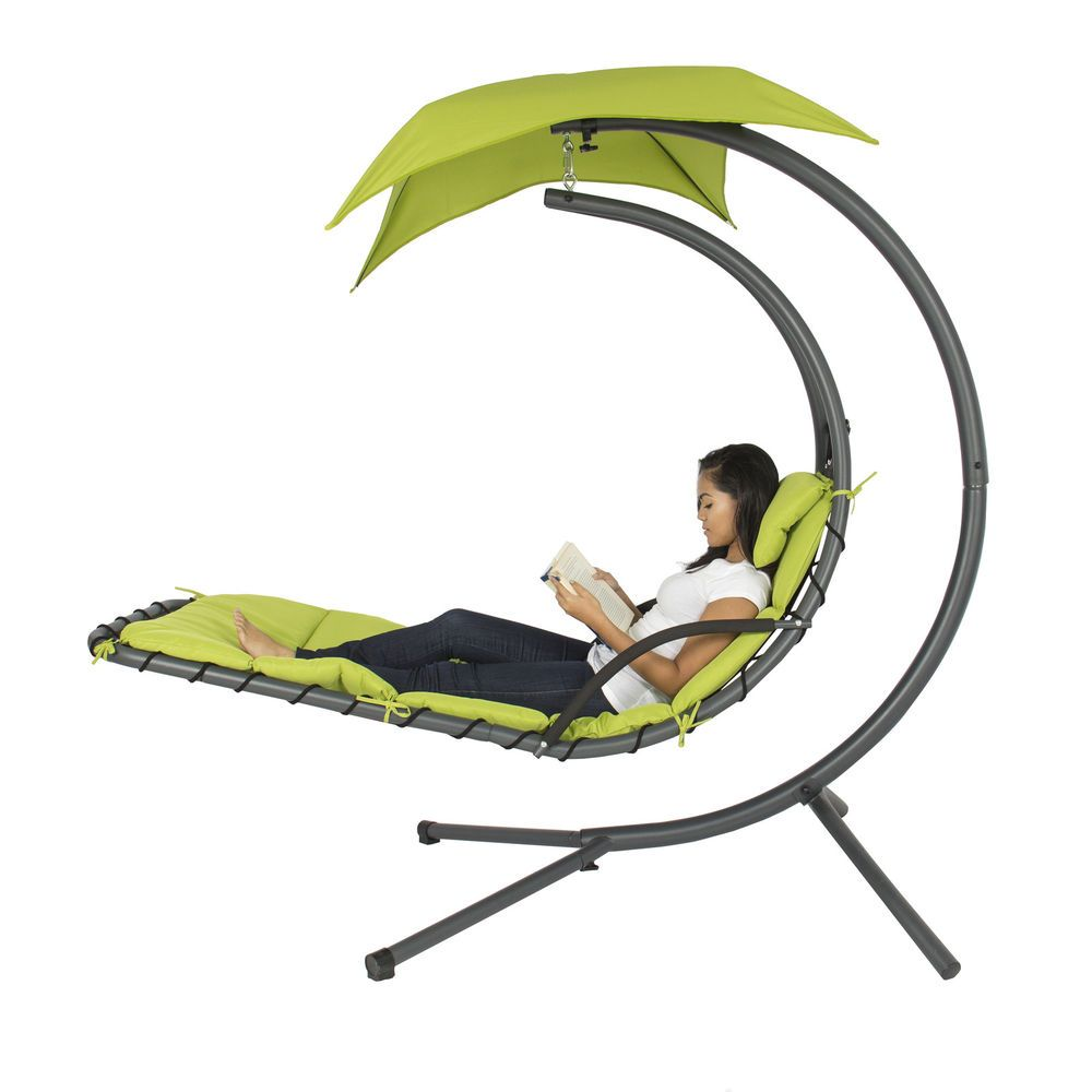 Details About Hanging Chaise Lounger Chair Arc Stand Air Porch Swing  Hammock Chair Canopy Gr