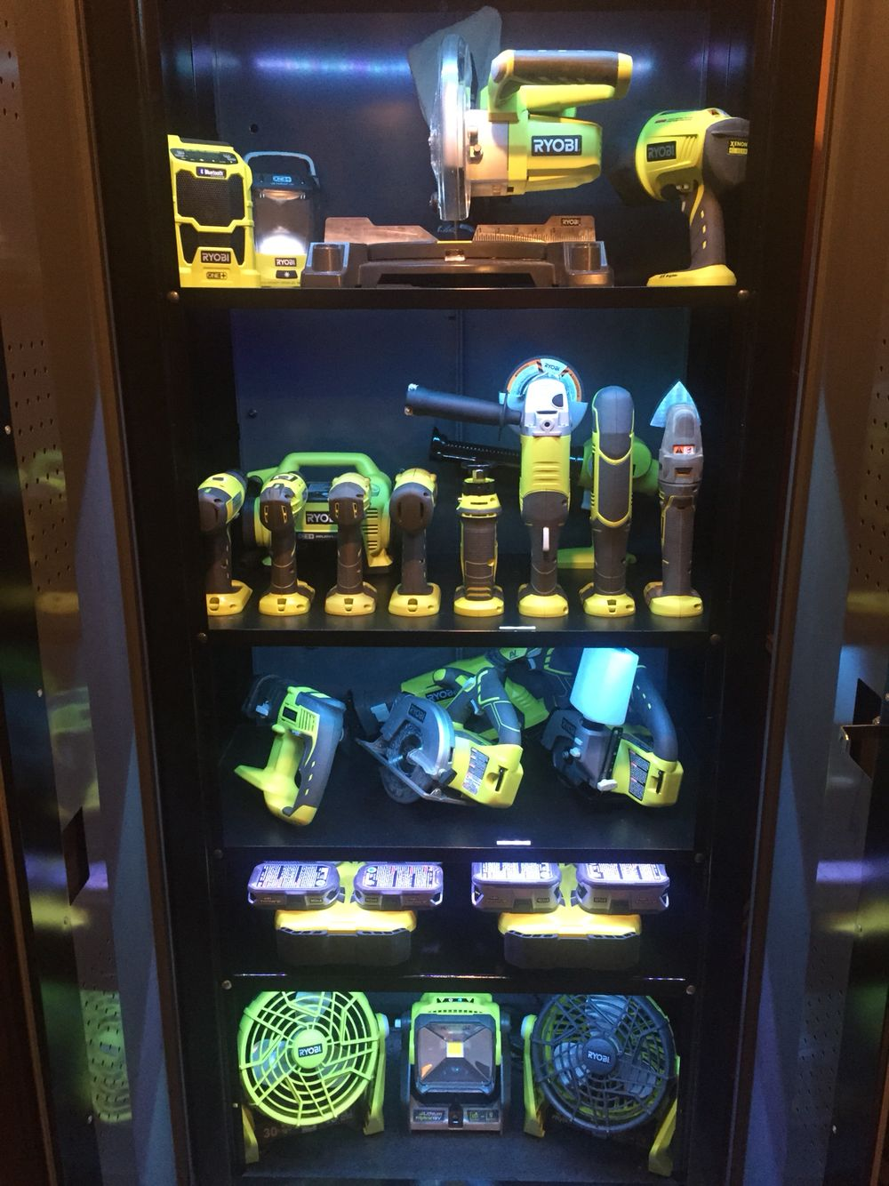 ryobi tool storage with slide out battery chargers | tool storage in