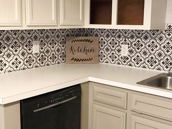 A Diy Stenciled Faux Tile Backsplash In Kitchen Using The Santa Ana Stencil From Cutting Edge Stencils