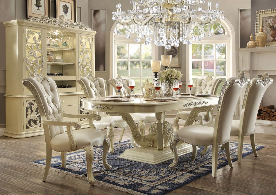 Homey Design HD 27 DINING TABLE Set 8 Chairs And China #HomeyDesign