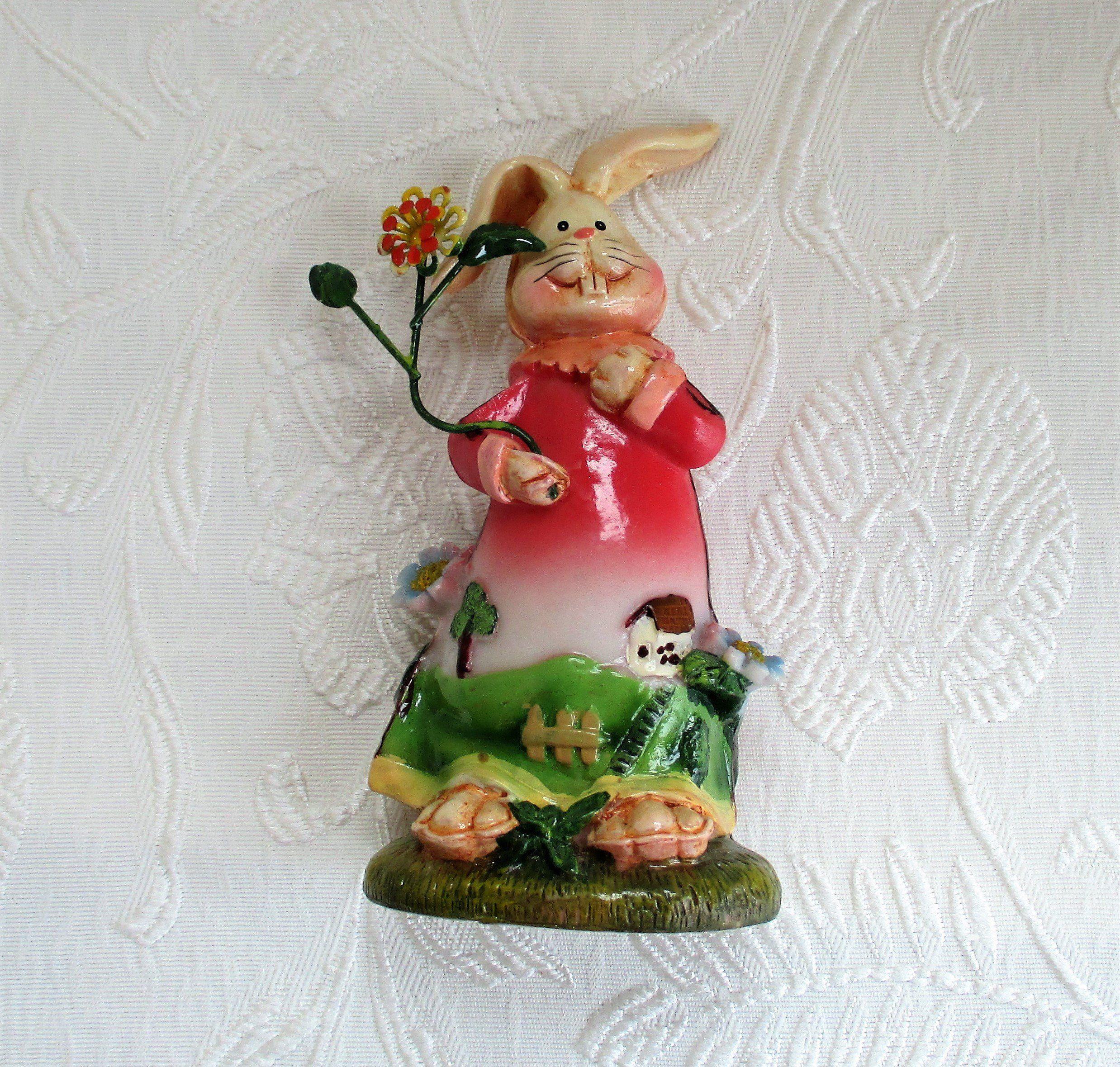 Easter Bunny Figurine Vintage Plastic Rabbit Easter Decor