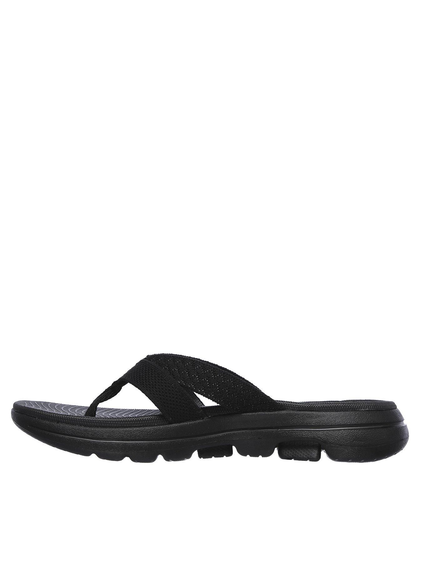 Skechers Gowalk 5 Sun Kiss Flip Flop Flat Sandals Black Black