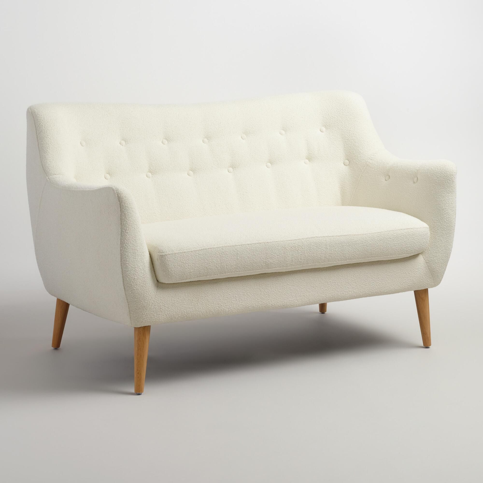 Our Easy To Assemble Sofa Boasts A Definitively Mid Century Style Silhouette Flared Natural Finished Rubberwood Legs And Love Seat White Loveseat Sofa Styling