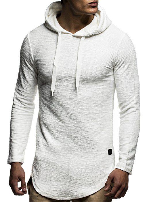 LEIF NELSON Herren oversize Sweatshirt mit Kapuze Hoodie Hoody LN6300;  Größe S, Ecru