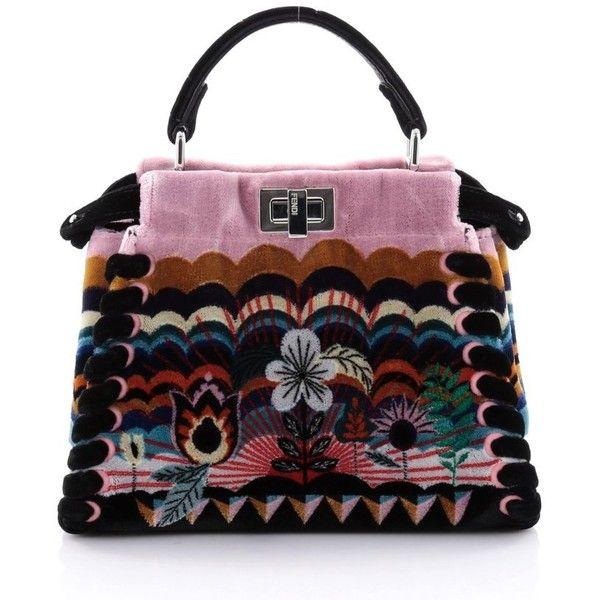 034047de4f8 Fendi Peekaboo Handbag Embroidered Velvet Mini (£1,825) ❤ liked on Polyvore  featuring bags, handbags, embroidered handbags, handbag purse, embroidered  ...