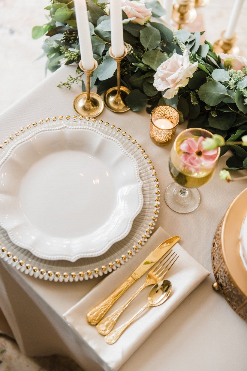 The 9 Types Of Fabric You Can Rent For Your Wedding Glass Charger Plates Wedding Table Linens Wedding Table Place Settings