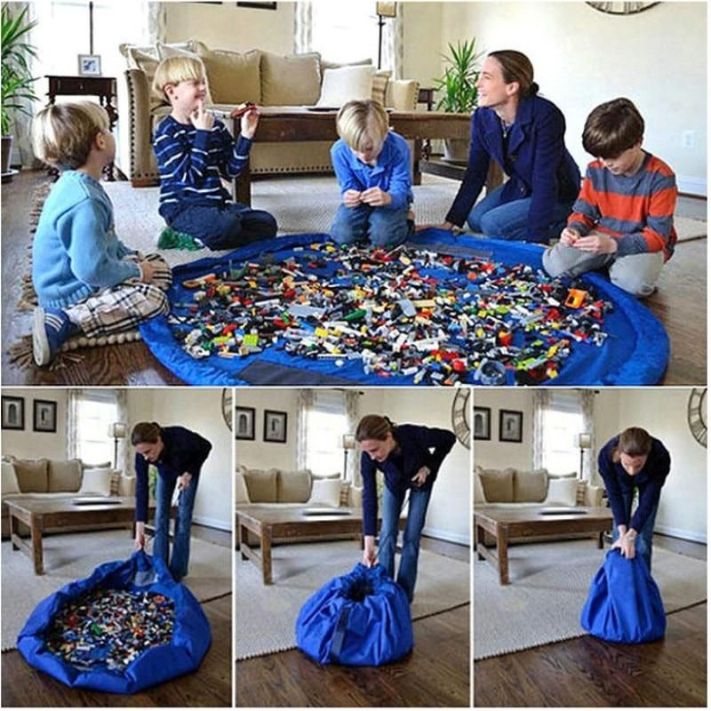 THEE Portable Kids Toy Storage Bag and Play Mat