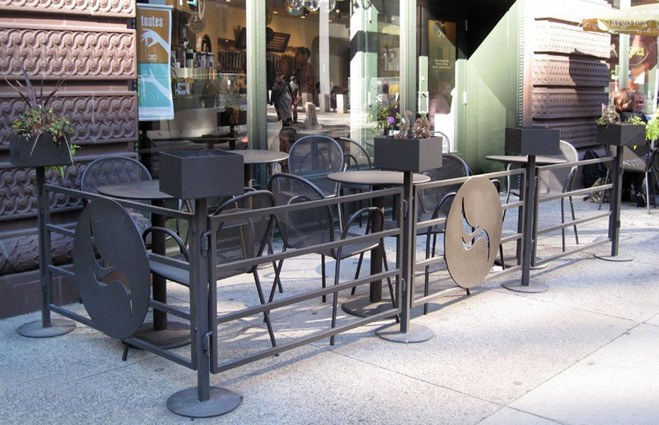 Commercial Outdoor Dining Furniture metal commercial outdoor seating railing | storefront design