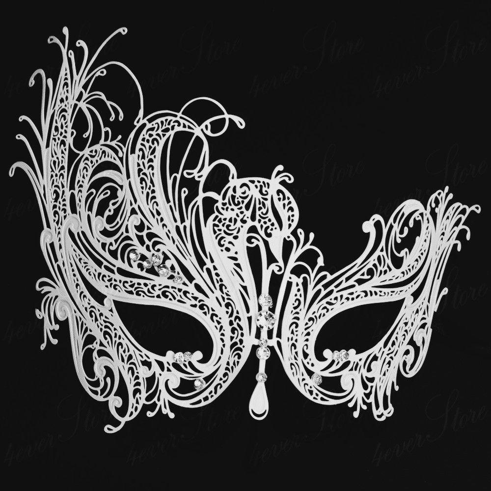 Pink Womens Beautiful Swan Filigree Venetian Laser Cut Masquerade Prom Mask