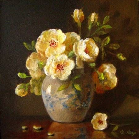 miniature floral still life oil painting yellow roses blue white ...