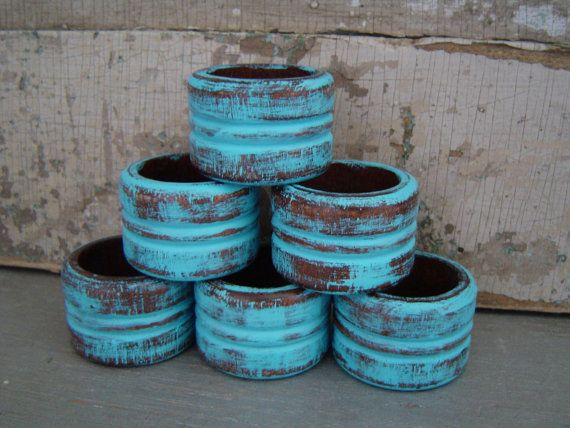 Turquoise Wooden Napkin Rings Set of 6  $12