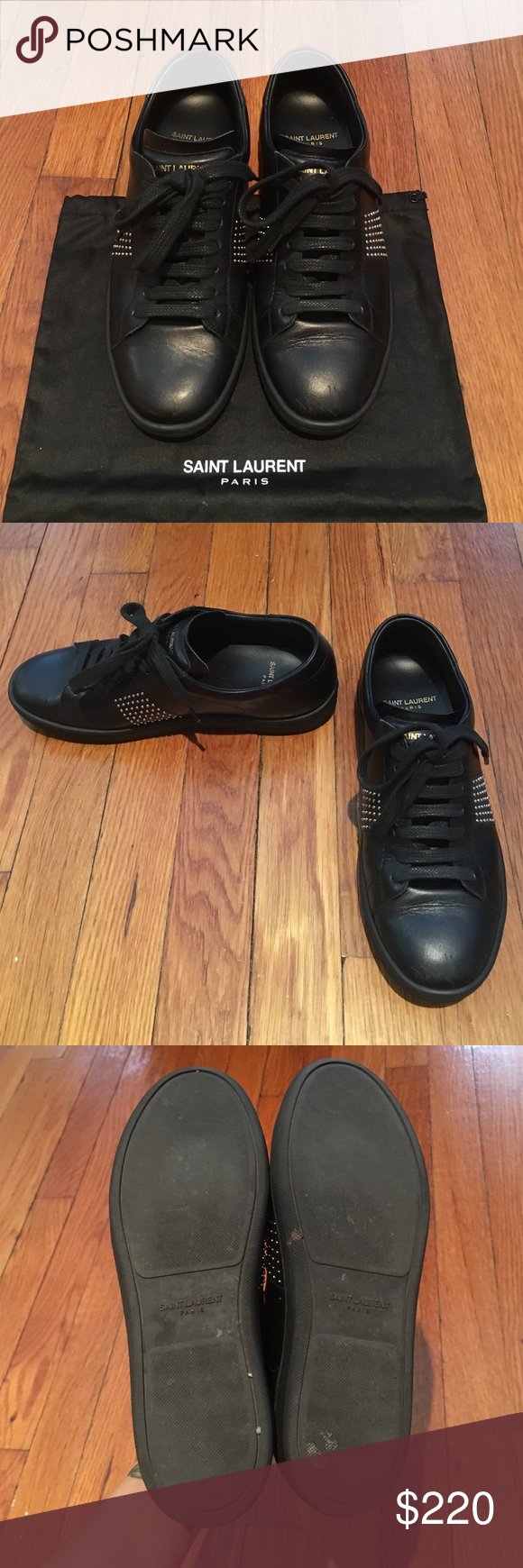 Authentic Saint Laurent black sneaker 36 Authentic saint Laurent black leather studded sneaker 36. it has some scratches on front of toe box and heels has sign of wears but still great condition. Saint Laurent Shoes Sneakers