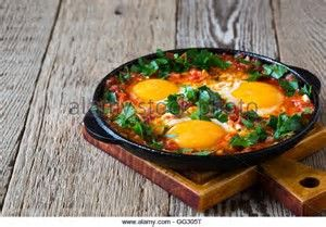 Image result for poached egg in tomato cast iron