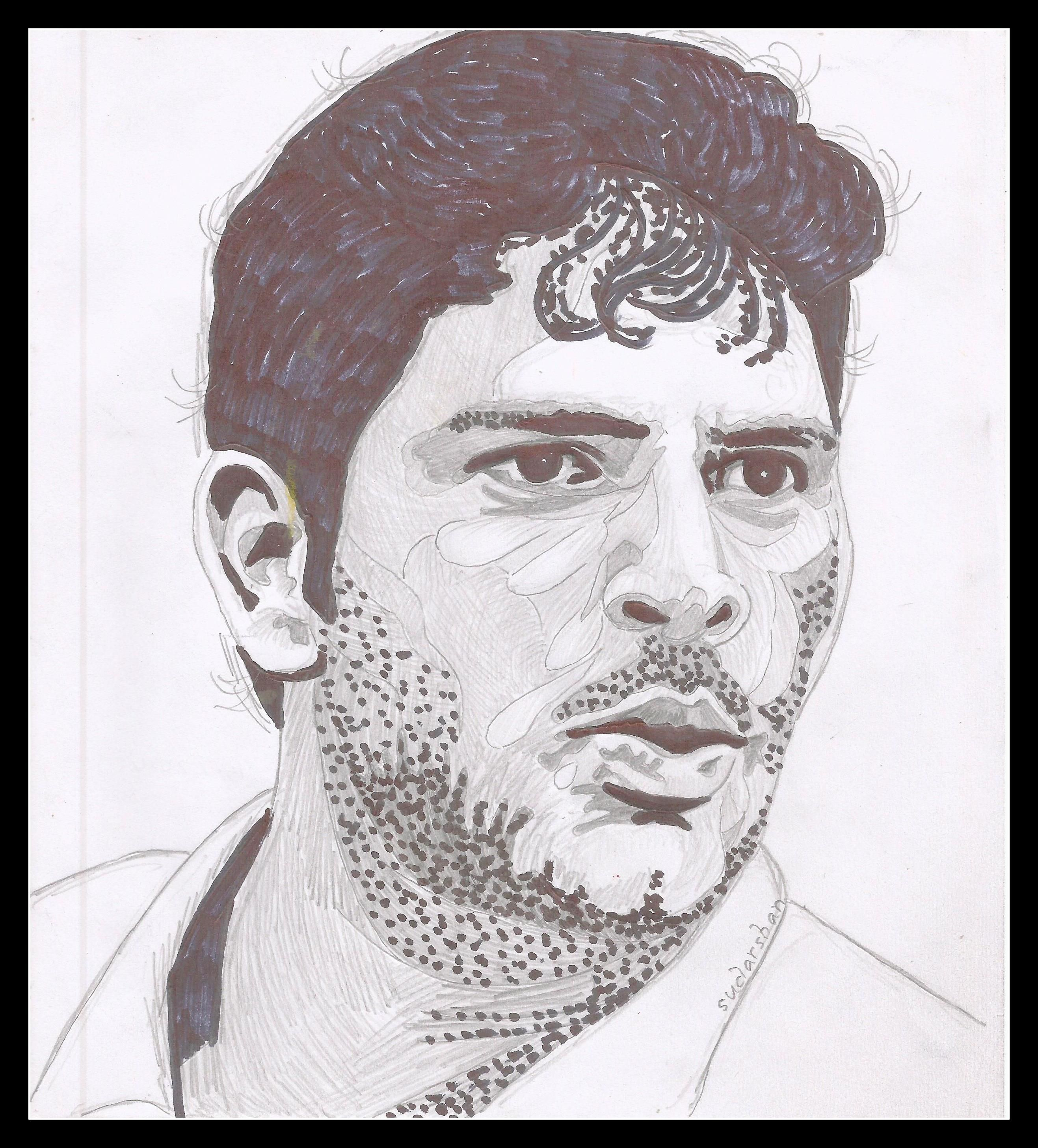 Sketches of yuvraj singh under town