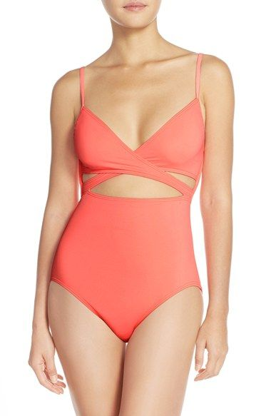 b7e0544e94 Free shipping and returns on Vince Camuto  Polish Solids  Wrap Front One-Piece  Swimsuit at Nordstrom.com. A wrap-style neckline and slender cutouts give  the ...