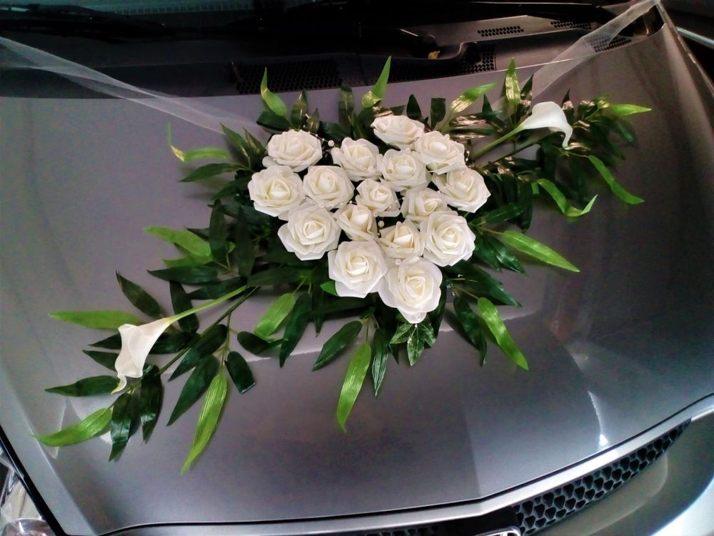 XL Autodeko Strau Auto Schmuck Braut Paar Deko Hochzeit