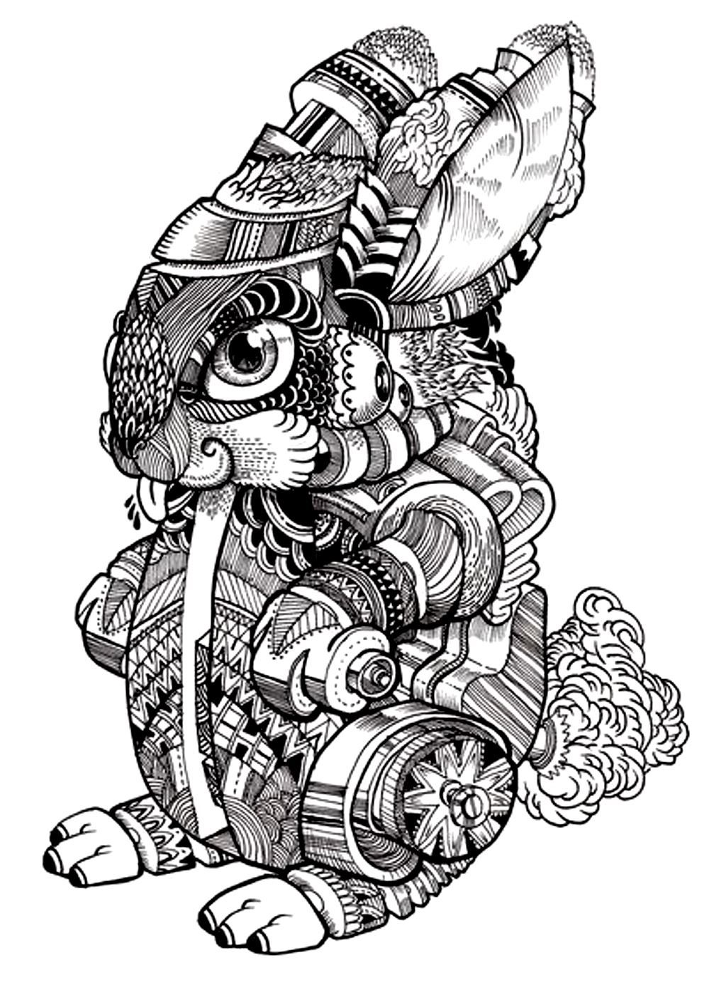 Free coloring page coloring-adult-difficult-rabbit-2. Drawing of a ...