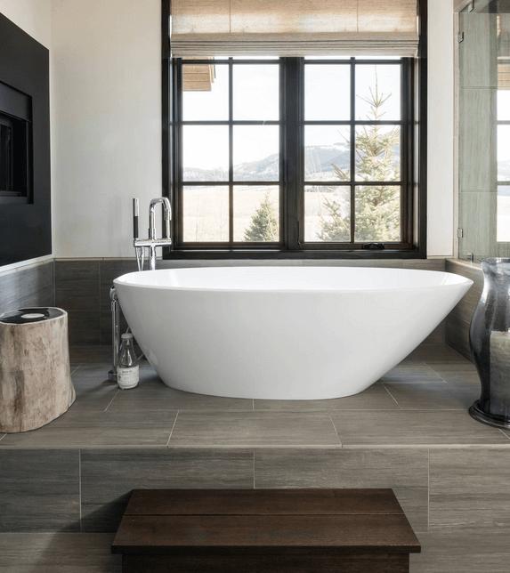 Superieur Bathroom Stainless Steel Crane Shower With Bath Tub Ceramic Tile Wood  Vanityu2026