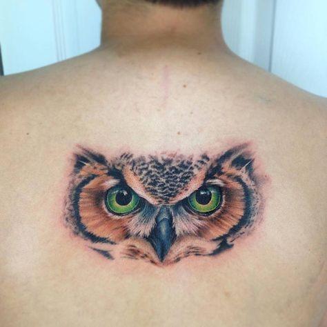 Ojos De Buho En La Espalda Tatuajes Realistic Owl Tattoo