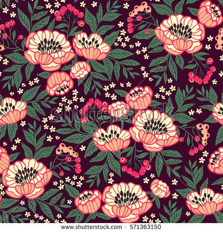 Seamless Floral Pattern With Peonies. Peony Flowers For Your Design. Bright  Pink Flowers.