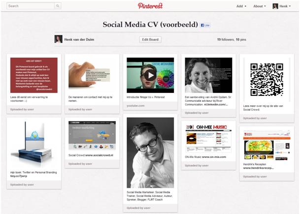 Een CV maken met behulp van Pinterest Sociale media